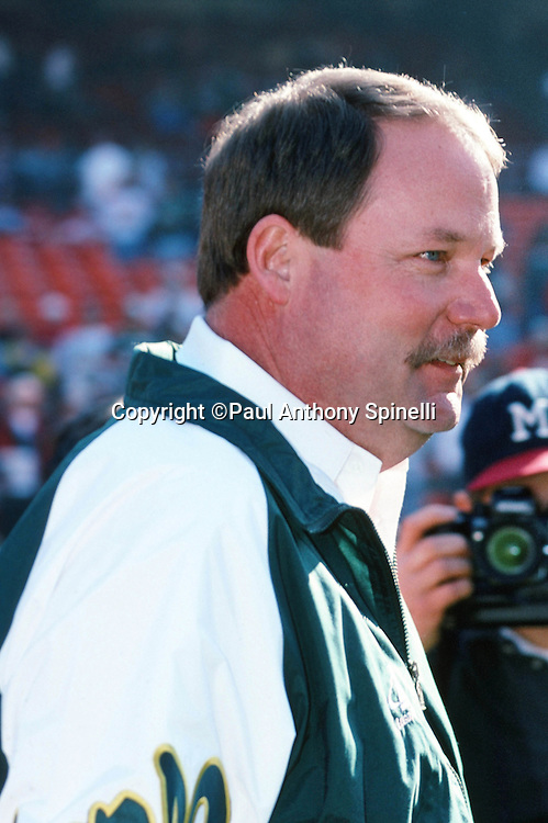 Green Bay Packers head coach Mike Holmgren looks on after the NFL NFC Divisional Playoff football game against the San Francisco 49ers on Jan. 6, 1996 in San Francisco. The Packers won the game 27-17. (©Paul Anthony Spinelli)