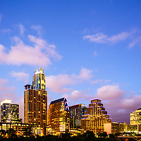 Austin skyline at twilight with downtown city buildings. Photo taken in 2016. Austin Texas is a major city in the Southwestern United States of America.