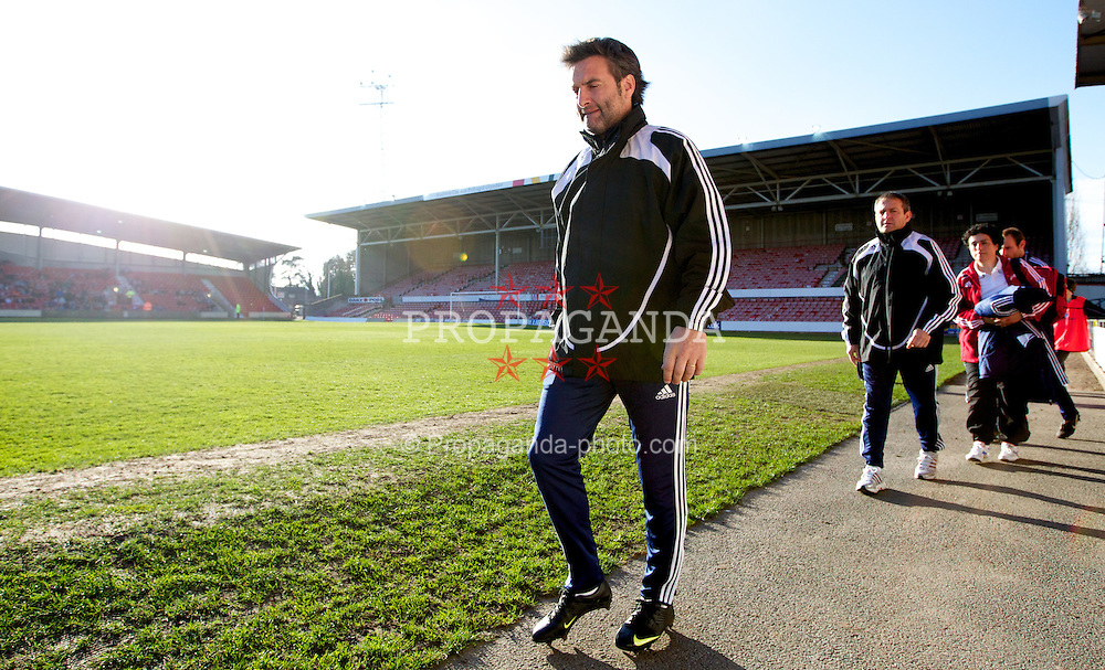 WREXHAM, WALES - Wednesday, February 29, 2012: Andorra's coach Justo Ruiz before the UEFA Under-21 Championship Qualifying Group 3 match against Wales at the Racecourse Ground. (Pic by Vegard Grott/Propaganda)