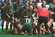 Zurich Premiership Rugby - London Irish v Wasps...Buried under the Exiles player Wasp's Trevor Loata to score Wasp's  try just before half time.. ...........   [Mandatory Credit, Peter Spurier/ Intersport Images].