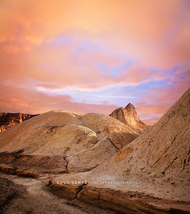 A Golden Sunset In Golden Canyon, Death Valley National Park, California, USA
