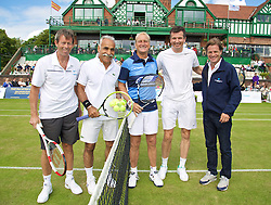 LIVERPOOL, ENGLAND - Sunday, June 21, 2015: Jeremy Bates (GBR), Mansour Bahrami (IRN), Peter McNamara (AUS), Richard Krajicek (NED) and Tournament Director Anders Borg during Day 4 of the Liverpool Hope University International Tennis Tournament at Liverpool Cricket Club. (Pic by David Rawcliffe/Propaganda)