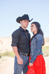girl admiring a hot cowboy outdoors