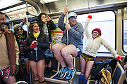 Participants in the No Pants Subway Ride party on the CTA's Red Line on January 13, 2013.