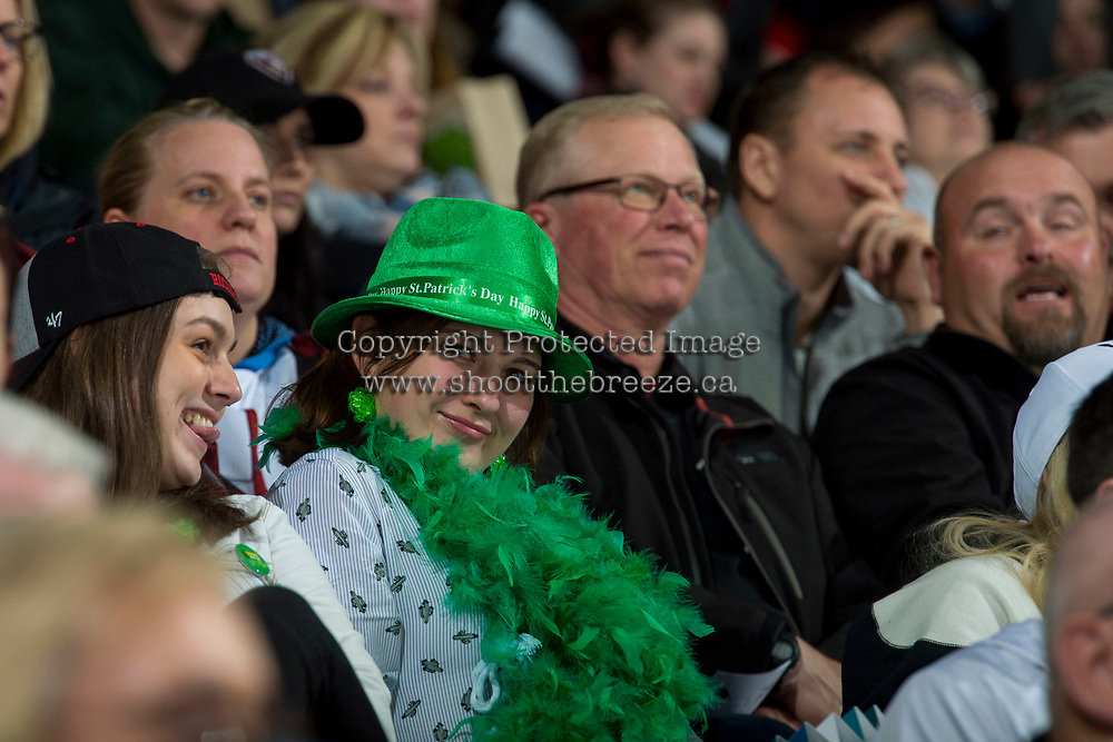 KELOWNA, CANADA - MARCH 18:  Fans celebrate St. Patrick's Day at the Kelowna Rockets against the Vancouver Giants on March 1, 2018 at Prospera Place in Kelowna, British Columbia, Canada.  (Photo by Marissa Baecker/Shoot the Breeze)  *** Local Caption ***