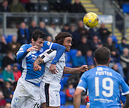 St Johnstone&rsquo;s Joe Shaughnessy and Dundee&rsquo;s Yordi Teijsse - St Johnstone v Dundee, Ladbrokes Scottish Premiership at McDiarmid Park, Perth. Photo: David Young<br /> <br />  - &copy; David Young - www.davidyoungphoto.co.uk - email: davidyoungphoto@gmail.com