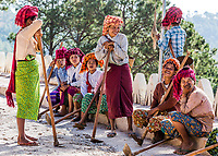 INLE LAKE, MYANMAR - DECEMBER 09, 2016 : women tribe resting and laughing near Kalaw Shan state in Myanmar (Burma)