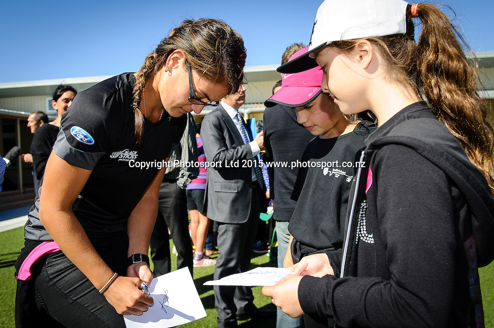 Black Sticks Player Ani Roberts signs autographs for Lyall Bay School Students after a Sport NZ Strategy Launch, Lyall Bay School, Wellington, New Zealand. Friday 20 March 2015. Copyright Photo: Mark Tantrum/www.Photosport.co.nz