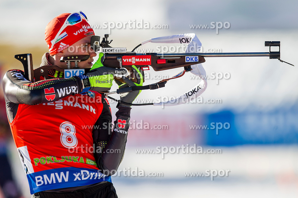 Benedikt Doll (GER) competes during Men 12,5 km Pursuit at day 3 of IBU Biathlon World Cup 2015/16 Pokljuka, on December 19, 2015 in Rudno polje, Pokljuka, Slovenia. Photo by Urban Urbanc / Sportida
