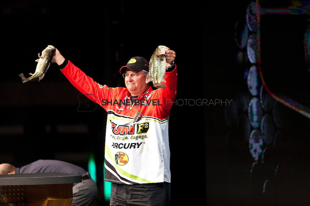 2/26/12 6:23:53 PM -- during the 2012 Bassmaster Classic on the Red River in Shreveport, La. ..Photo by Shane Bevel.Jamie Horton at the final weigh in.