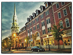 "Congress Street morning, Portsmouth, New Hampshire. iPhone photo - suitable for print reproduction up to 8"" x 12""."
