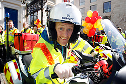 No fee for Repro: 02/01/2013 . pictured at the launch of Blood Bike East. Blood Bike East is a charitable organisation that delivers blood & medical products by motorbike between hospitals in Leinster free of charge. It is an entirely volunteer run organisation and Blood Bike East riders are highly trained and can safely negotiate traffic where large vehicles would be unable to do so, unless an emergency blue light vehicle is taken off an already overstretched service. DoneDeal's recent donation of ?32,309 facilitated the purchase of additional motorcycles and their maintenance which was key to today's launch that sees the service roll out across all of Leinster. Picture Andres Poveda ..