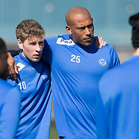 St Johnstone Training..18.04.14<br /> David Wotherspoon and Chris Iwleumo listen to manager Tommy Wright during training this morning ahead of tomorrow's game against Dundee United.<br /> Picture by Graeme Hart.<br /> Copyright Perthshire Picture Agency<br /> Tel: 01738 623350  Mobile: 07990 594431