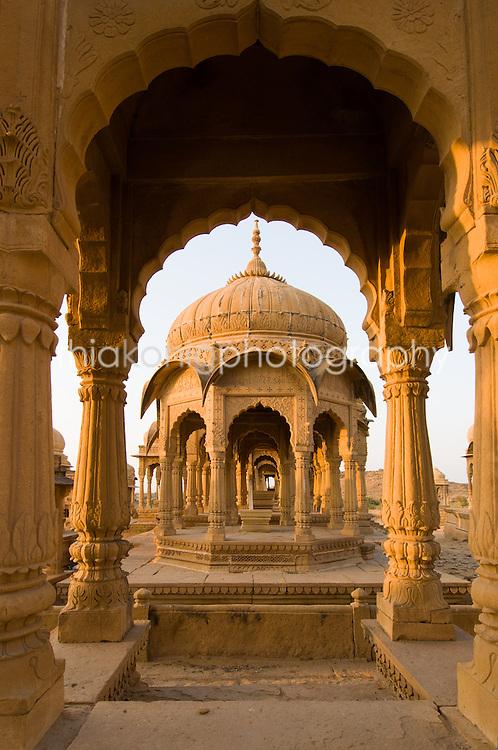 A symetrical view through arch of Bada Bagh, Jaiselmer, India