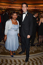 BARONESS LAWRENCE OF CLARENDON and ED MILIBAND MP leader of The Labour Party at the inaugural Stephen Lawrence Memorial Ball held at The Dorchester, Park Lane, London on 17th October 2013.