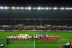 SWANSEA, WALES - Tuesday, March 26, 2013: Wales and Croatia players line-up before the 2014 FIFA World Cup Brazil Qualifying Group A match at the Liberty Stadium. (Pic by Tom Hevezi/Propaganda)