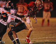 Lafayette High's Colby Terrell (10) catches a pass vs. Leake Central in playoff high school football action in Oxford, Miss. on Friday, November 4, 2011. Lafayette won 46-7.