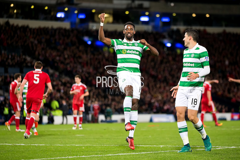 Celtic forward Moussa Dembele (#10) celebrates scoring Celtic's third goal (3-0) during the Scottish Cup final match between Aberdeen and Celtic at Hampden Park, Glasgow, United Kingdom on 27 November 2016. Photo by Craig Doyle.
