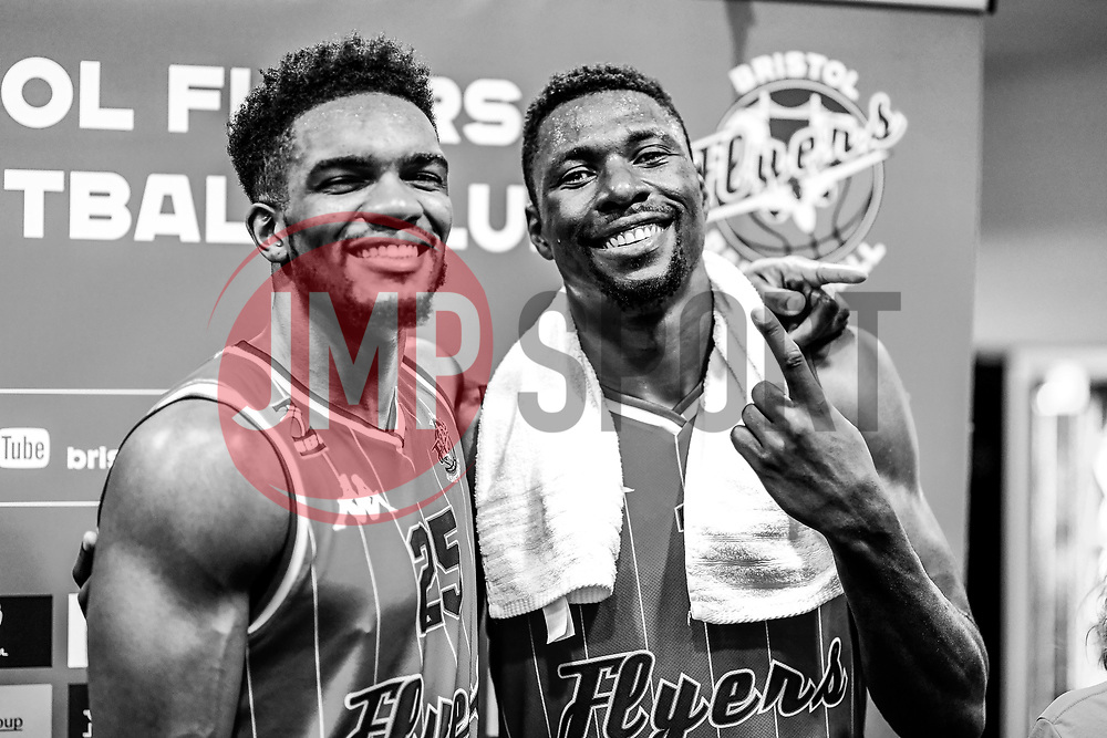 Marcus Delpeche of Bristol Flyers and Daniel Edozie of Bristol Flyers  after the final whistle of the match - Photo mandatory by-line: Ryan Hiscott/JMP - 03/11/2018 - BASKETBALL - SGS Wise Arena - Bristol, England - Bristol Flyers v Newcastle Eagles - British Basketball League Championship