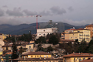 L'Aquila  20 Novembre 2010.Sos L'Aquila chiama Italia.La città  del L'Aquila  dopo 18 mesi dal terremoto..PAnoramica sullo sfondo la chiesa di San Bernardino con le impalcature per il restauro.Sos L'Aquila called  Italy.The city of L'Aquila 18 months after the earthquake