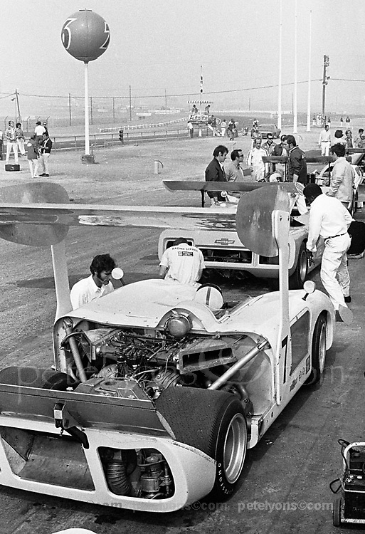 "Chaparral 2H at 1969 Riverside Can-Am; photo taken early in practice, when the car was still wearing the ""parasol"" wing used at the previous race; PHOTO BY Pete Lyons 1969 / www.petelyons.com"