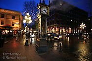 Steam-powered clock (1977) is tourism landmark of Gastown borough in downtown Vancouver, British Columbia, Canada.