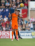 July 30th 2017, Dundee, Scotland; Betfred Cup football, group stages, Dundee versus Dundee United; Dundee&rsquo;s Cammy Kerr beats Dundee United's Billy King in the air<br /> <br />  - Picture by David Young - www.davidyounghoto@gmail.com - email: davidyoungphoto@gmail.com