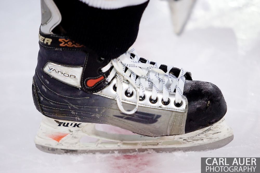 October 13, 2007 - Anchorage, Alaska: The skate of a Wayne State University player prior to their game three 4-1 loss to the Robert Morris University Colonials at the Nye Frontier Classic at the Sullivan Arena.