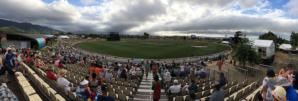 Panoramic view of Saxton Oval during the 2015 ICC Cricket World Cup match between Bangladesh v Scotland. Saxton Oval, Nelson, New Zealand. Thursday 5 March 2015. Copyright Photo: Chris Symes / www.photosport.co.nz