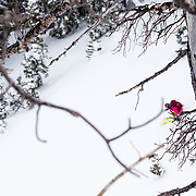 Kim Havell blurred in the distance skiing a line in the Teton backcountry.