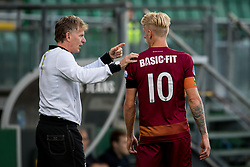 (L-R) coach Alfons Fons Groenendijk of ADO Den Haag, Lex Immers of ADO Den Haag during the Pre-season Friendly match between ADO Den Haag and Panathinaikos at the Cars Jeans Stadium on July 28, 2018 in The Hague, The Netherlands
