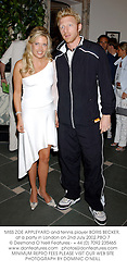 MISS ZOE APPLEYARD and tennis player BORIS BECKER, at a party in London on 2nd July 2002.PBO 7