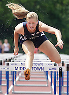 Pine Bush's Meredith Przybocki runs the 100-meter hurdles during the first day of the pentathlon competition at the Section 9 track and field state qualifying meet at Middletown on Thursday, May 30, 2013.