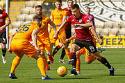 Brad Lyons of St Mirren takes on Craig Halkett of Livingstone during the Ladbrokes Scottish Premiership match between Livingston and St Mirren at Tony Macaroni Arena, Livingstone, Scotland on 20 April 2019.