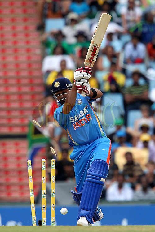 Rohit Sharma of India is bowled by Lonwabo Tsotsobe of South Africa  during the 5th ODI between South Africa and India held at Supersport Park in Centurion, Gauteng, South Africa on the 23rd January 2011..Photo by Ron Gaunt/BCCI/SPORTZPICS