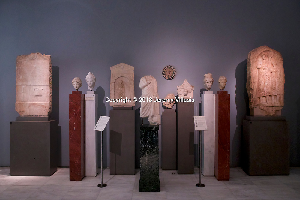 Various marble head fragments and grave reliefs from the 1st-2nd century AD to AD 75.<br /> <br /> Gallery 8. Prehistory to the late Roman period. Benaki Museum