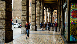 People walking in the Piazza Maggiore, Bologna, Italy<br /> <br /> (c) Andrew Wilson | Edinburgh Elite media