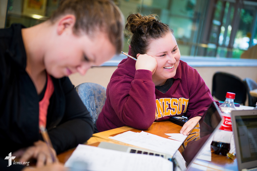 Kristina Janu (right) works in her math study group at Concordia University, Saint Paul, on Tuesday, August 5, 2014, in St. Paul, Minn. She is joined by Kayla Conrad.  LCMS Communications/Erik M. Lunsford