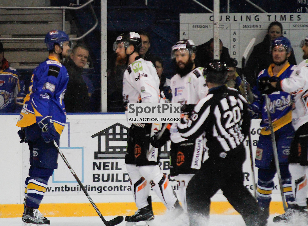 Fife Flyers V Sheffield Steelers, Elite Ice Hockey League, 12 December 2015Fife Flyers V Sheffield Steelers, Elite Ice Hockey League, 12 December 2015<br /> <br /> FIFE FLYERS #22 JEFF LEE AND SHEFFIELD STEELERS #28 ZACK FITZGERALD HAVE A FEW WORDS