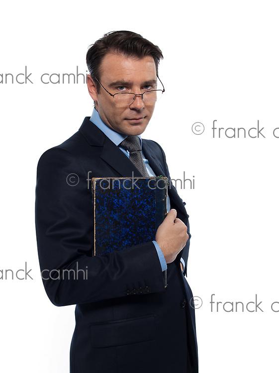 man caucasian teacher professor holding closed book isolated studio on white background