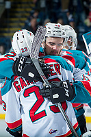 KELOWNA, CANADA - APRIL 30: Erik Gardiner #12 hugs brother Reid Gardiner #23 of the Kelowna Rockets after the loss against the Seattle Thunderbirds on April 30, 2017 at Prospera Place in Kelowna, British Columbia, Canada.  (Photo by Marissa Baecker/Shoot the Breeze)  *** Local Caption ***