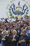 Diputados y funcionarios publicos participan Viernes SEPT 14, 2012 en el canto al himno Nacional durantes los festejos por la independencia de El Salvador. Photo: Franklin Rivera/fmln/Imagenes Libres.