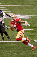 3 February 2013: Quarterback (7) Colin Kaepernick of the San Francisco 49ers runs the ball against the Baltimore Ravens during the first half of the Ravens 34-31 victory over the 49ers in Superbowl XLVII at the Mercedes-Benz Superdome in New Orleans, LA.