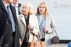 © Licensed to London News Pictures. 13/11/2017. Wakefield UK. Sheila Connor (front cream coat) & Denise Courtney (rear blue coat) (both sisters of Ann Maguire) arrive at Wakefield Coroners Court this morning. The inquest into the death of Leeds teacher Ann Maguire is starting today at Wakefield Coroners Court. Mrs Maguire, a 61 year old Spanish teacher, was stabbed to death by Will Cornick at Corpus Christi Catholic College in Leeds in April 2014. The school pupil, who was 15 at the time, admitted murdering Mrs Maguire and was given a life sentence later that year. Since then, some of Mrs Maguire's family have campaigned for further investigation into her death as they believe more could have been done to prevent the tragedy. Photo credit: Andrew McCaren/LNP