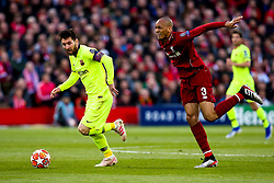 Lionel Messi of Barcelona goes past Fabinho of Liverpool - Mandatory by-line: Robbie Stephenson/JMP - 07/05/2019 - FOOTBALL - Anfield - Liverpool, England - Liverpool v Barcelona - UEFA Champions League Semi-Final 2nd Leg