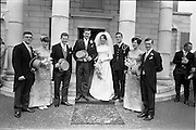 05/07/1967<br /> 07/05/1967<br /> 05 July 1967<br /> Wedding of George Walsh, eldest son of Mr and Ms Kevin G. Walsh, St. Rita's, Firhouse Road, Templeogue, Co. Dublin and Miss Arlene McMahon, elder daughter of Det. Chief Supt. Philip McMahon, Head of Special Branch, Dublin Castle and Mrs McMahon of Lisieux, Templeville Park, Templeogue, Co. Dublin who were married at the Carmelite Church, Terenure College, Dublin. An Taoiseach Mr Jack Lynch and Mrs Lynch; Mr Liam Cosgrave, leader Fine Gael and Mrs Cosgrave were among the 120 guests. Rev Fr H.E. Wright, O. Carm., Moate, officiated at the ceremony. The reception was held at Downshire Hotel, Blessington, Co. Wicklow. Wedding party pictured outside the church.
