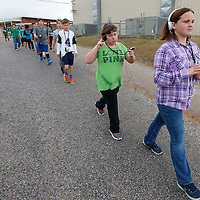 "Thomas Wells | Buy at PHOTOS.DJOURNAL.COM<br /> Marley Helms is the classes ""pace car"" as her class enjoys the ""walking classroom"" on Thursday."