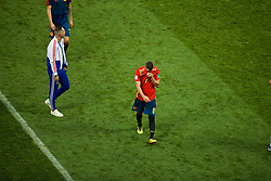 MOSCOW, RUSSIA - Sunday, July 1, 2018: Spain's Iury Gazinsky looks dejected as his side lose a penalty shoot-out 4-3 to Russia, after a 1-1 draw, during the FIFA World Cup Russia 2018 Round of 16 match between Spain and Russia at the Luzhniki Stadium. (Pic by David Rawcliffe/Propaganda)