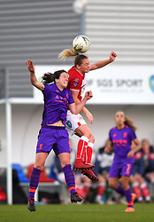 Niamh Fahey of Liverpool Women and Lucy Graham of Bristol City compete for a high ball - Mandatory by-line: Paul Knight/JMP - 17/11/2018 - FOOTBALL - Stoke Gifford Stadium - Bristol, England - Bristol City Women v Liverpool Women - FA Women's Super League 1