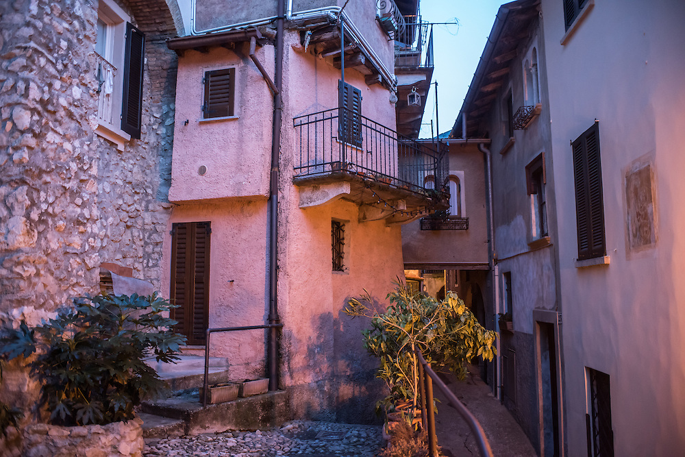 Architecture and narrow streets in Santa Maria Del Monte in Varese, Italy at dusk